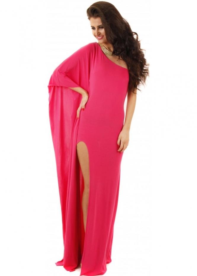 Goddess London One Shoulder Hot Pink High Split Maxi Dress