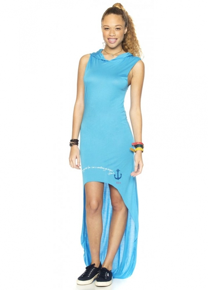 Peace Love World I Am Hooked On Love Sea Blue Sleeveless Metro Hooded Hilo Dress