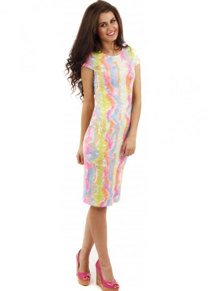 Neon Snake Print Midi Dress Multicoloured Dress Day Dress