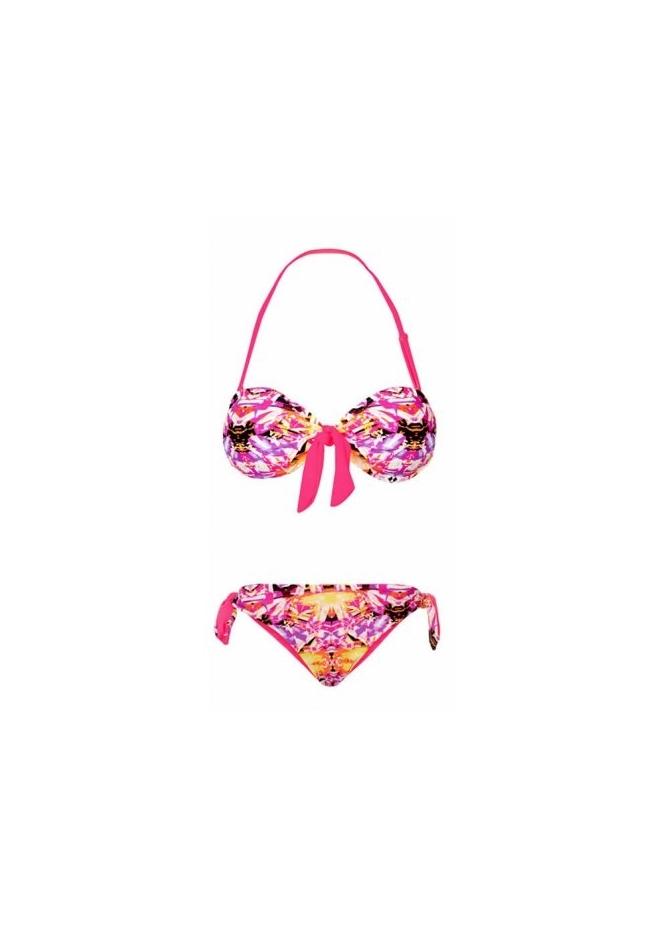 Gemelli Kaleidoscope Tie front Bandeau Bikini
