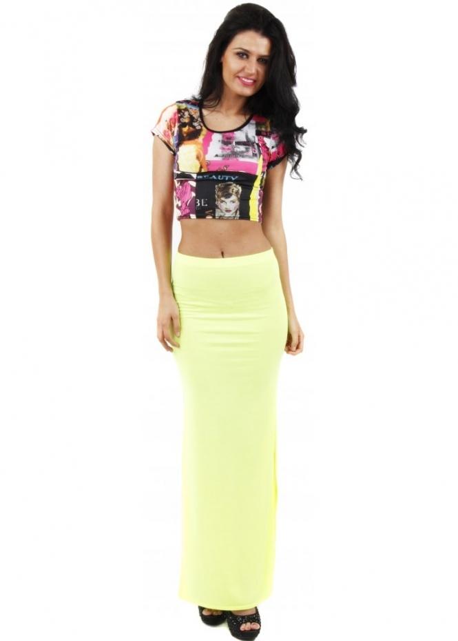 maxi skirt neon yellow maxi skirt festival skirt