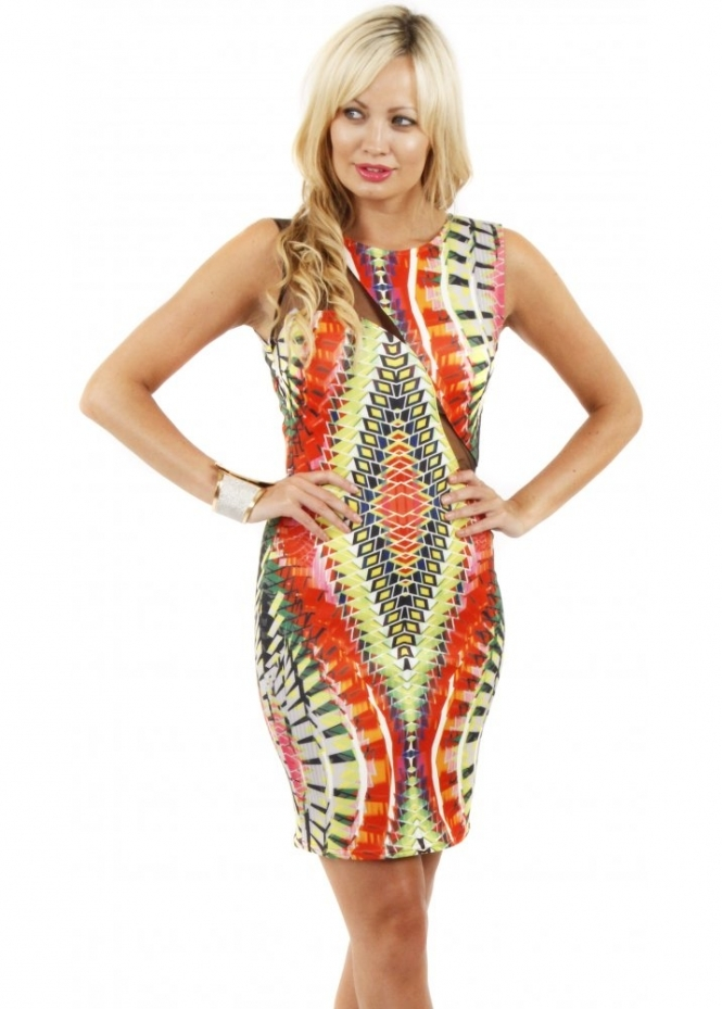 Goddess London Aztec Print Mesh Cutaway Scuba Bodycon Dress