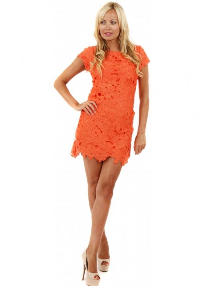 Orange Lace Shift Dress Lace Mini Dress Neon Orange
