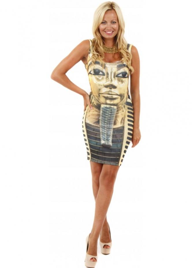 Designer Desirables Gold Egyptian Print Scuba Bodycon Mini