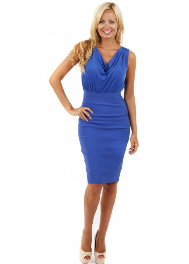 Vesper Nancy Cobalt Blue Draped Bodice Pencil Dress
