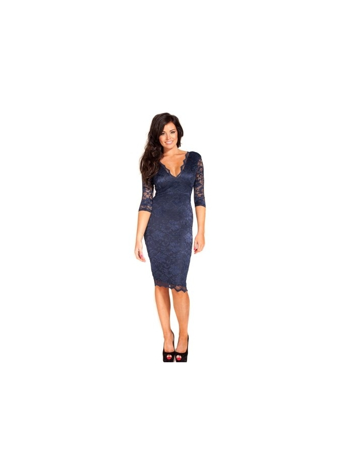 Jessica Wright Tara Navy Lace Midi Dress
