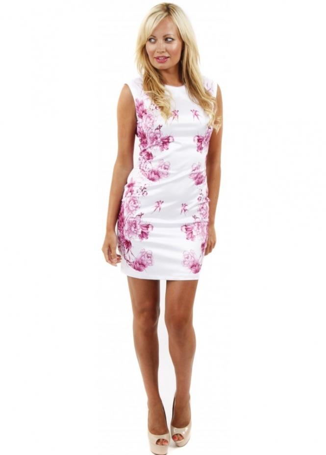 Cotton Club Dress White Mini Dress Pretty Pink Flower