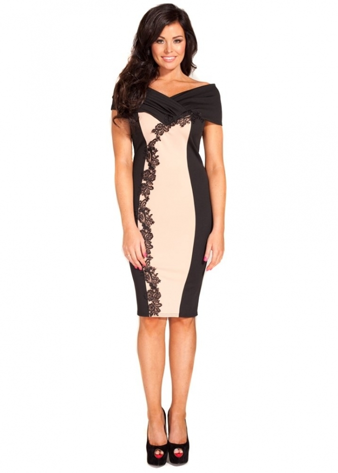 Jessica Wright Miley Off The Shoulder Lace Midi Dress