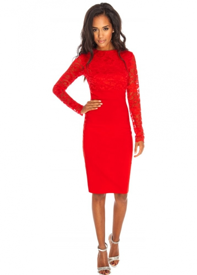 Goddess London Long Sleeve Red Lace Pencil Dress