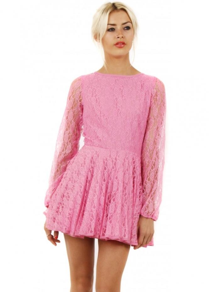 Designer Desirables Pink Lace Cut Out Back Skater Prom Dress