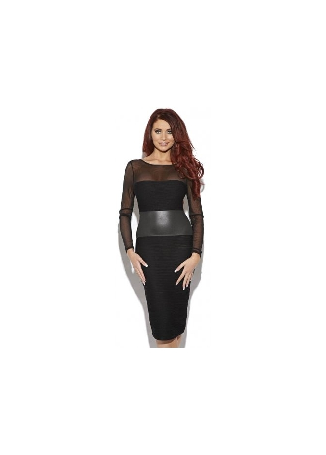 Amy Childs Brandie Black Faux Leather Detail Body Con Dress