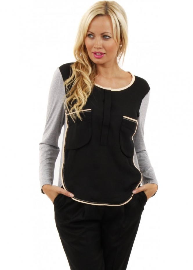 Paisie Black & Grey Two Tone Pocket Long Sleeved Blouse Top
