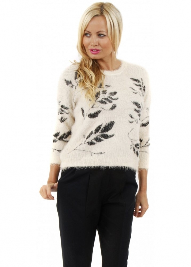 Paisie Ivory Fluffy Leaves Print Cropped Mohair Jumper