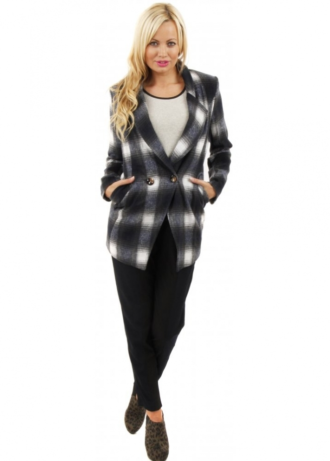 Paisie Double Breasted Blue Tartan Boyfriend Jacket