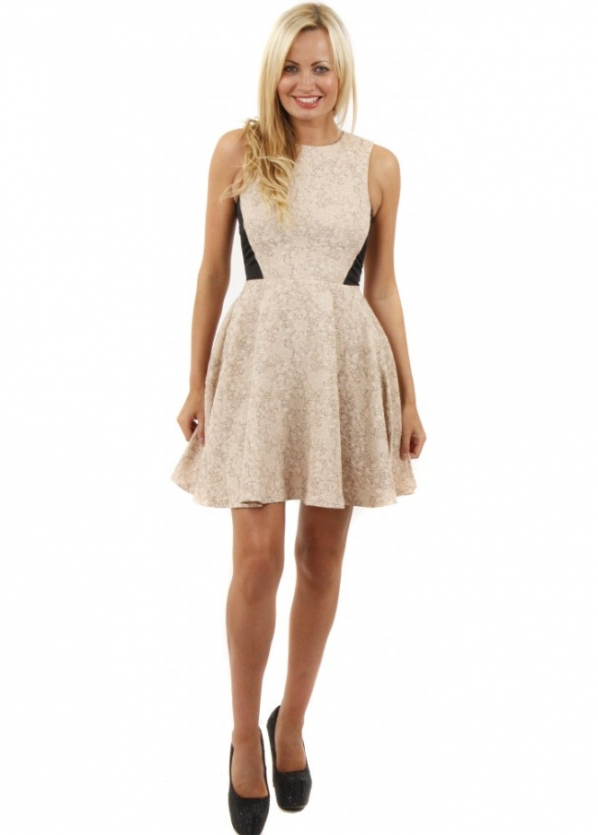 Hedonia Olive Nude Fit & Flare Skater Dress
