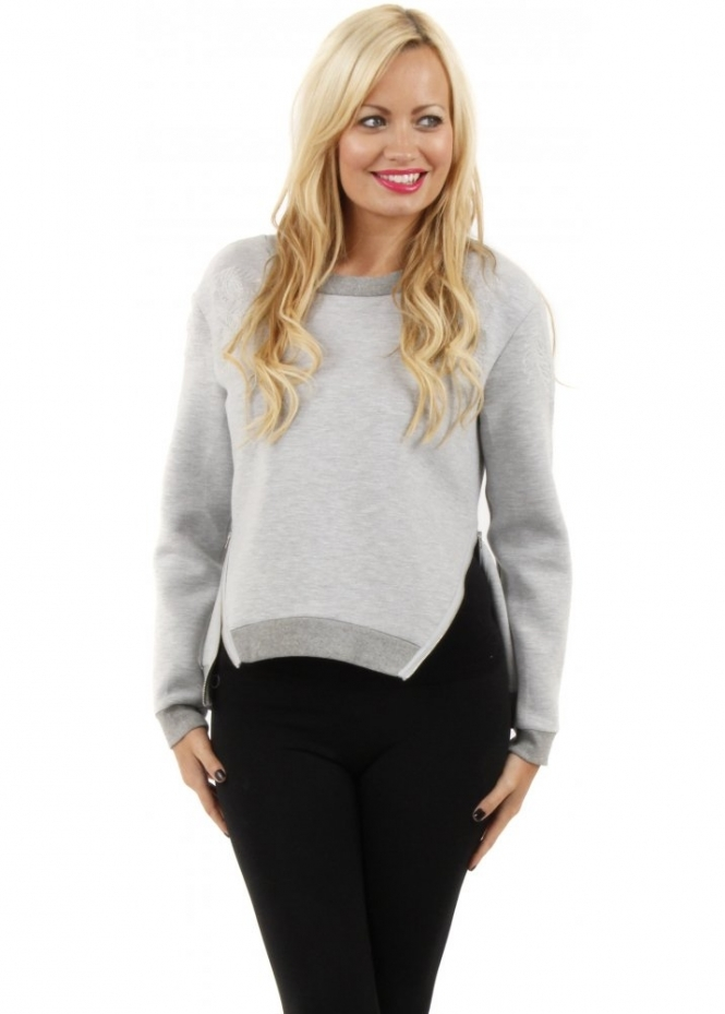 Finders Keepers For You Grey Marle Zip Detail Fleece Jumper