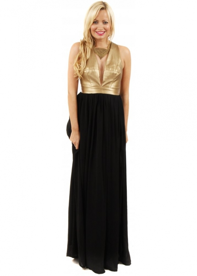 Goddess London Dress Black Maxi Dress Gold Pu Maxi Dress