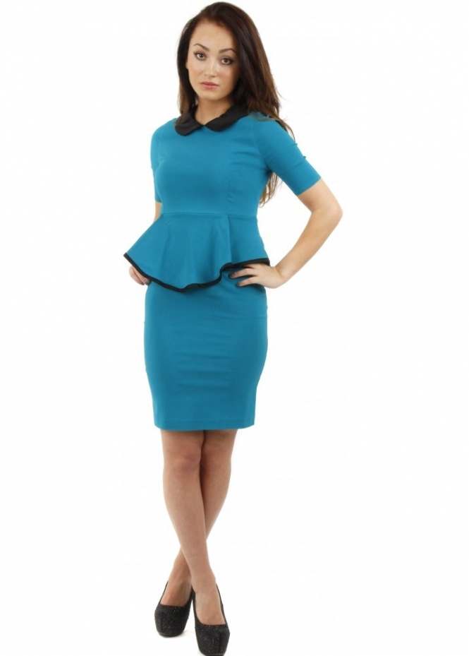 Vesper Chelsea Jade Peplum Pencil Dress With Contrasting Collar