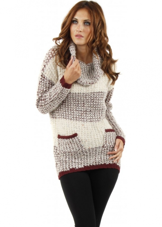 Only Cula Roll Neck Burgundy & Beige Knitted Jumper