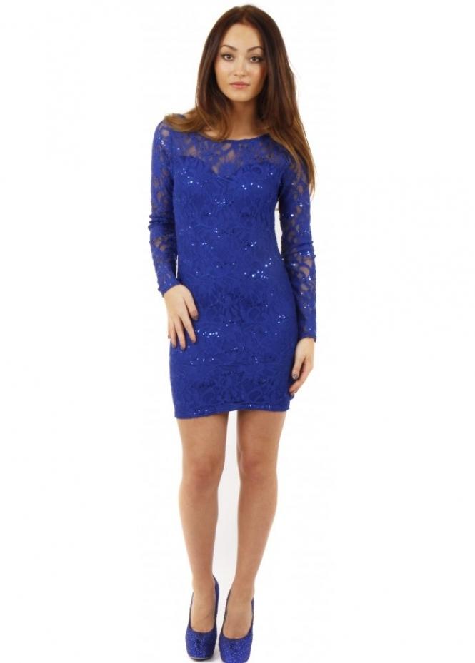 Signature Cobalt Blue Lace Dress Lace Mini Dress Blue