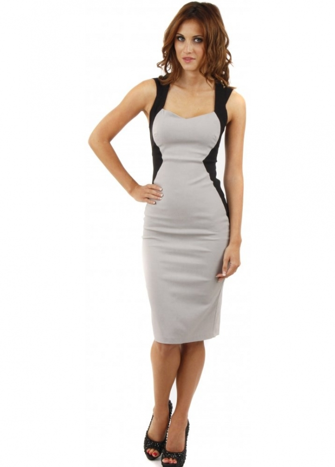 Vesper Mimi Grey & Black Cross Back Pencil Dress