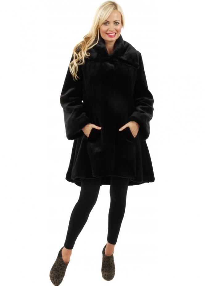 Marble | Marble Faux Fur Coat | Black Peplum Swing Coat