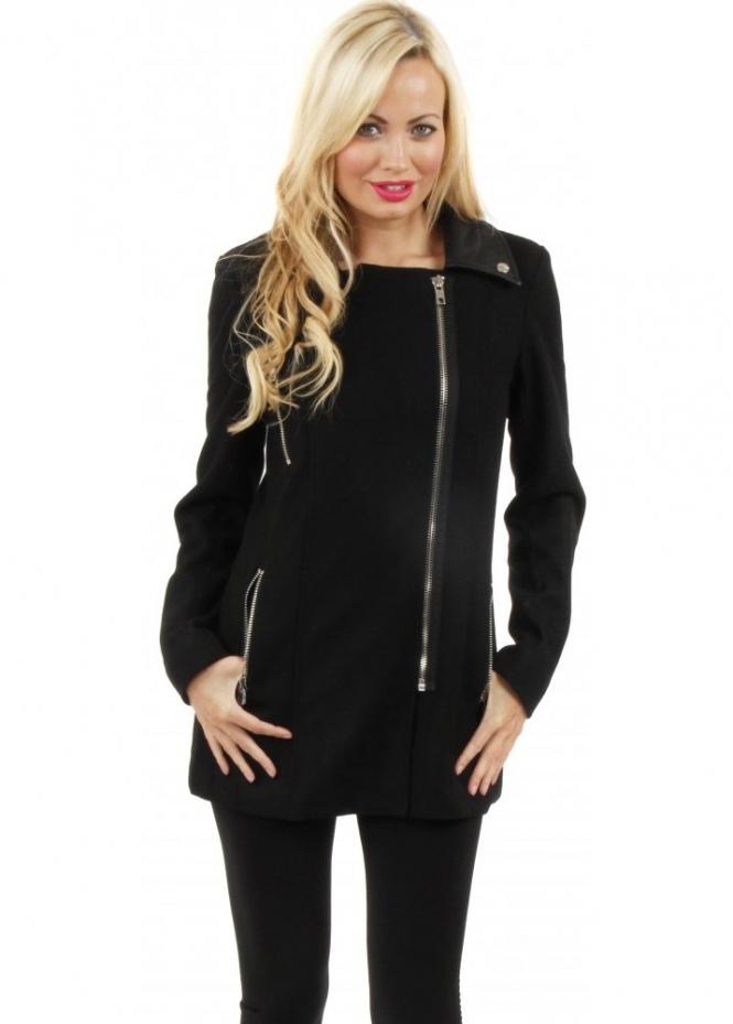 Only Coat Black Wool Coat Yvonne Short Biker Coat