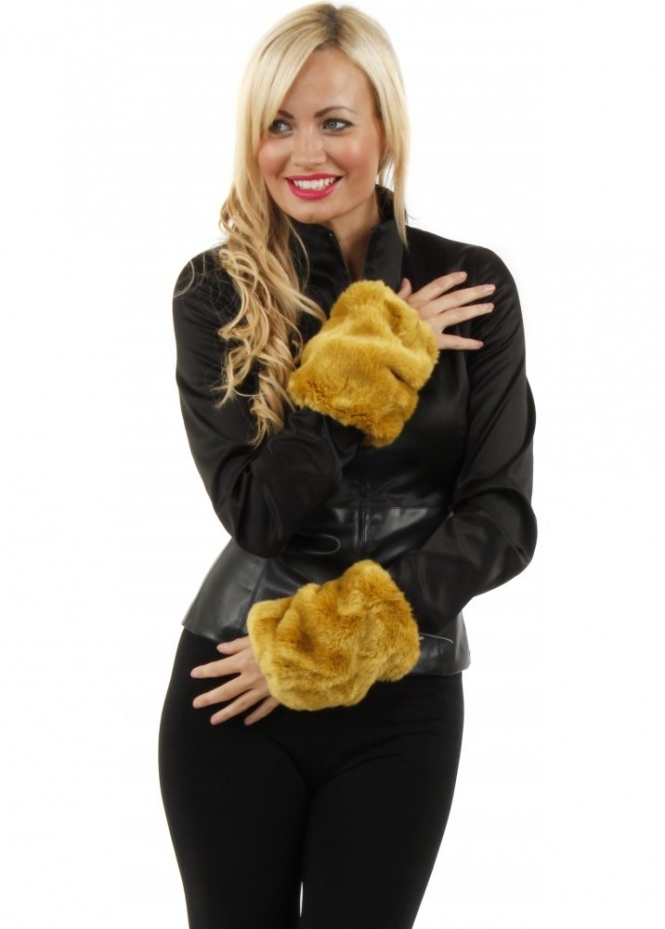 Urbancode Thick Cosy Mustard Faux Fur Cuffs