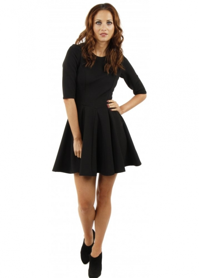 Closet Black Ribbed Fit Amp Flare Dress Closet Dress