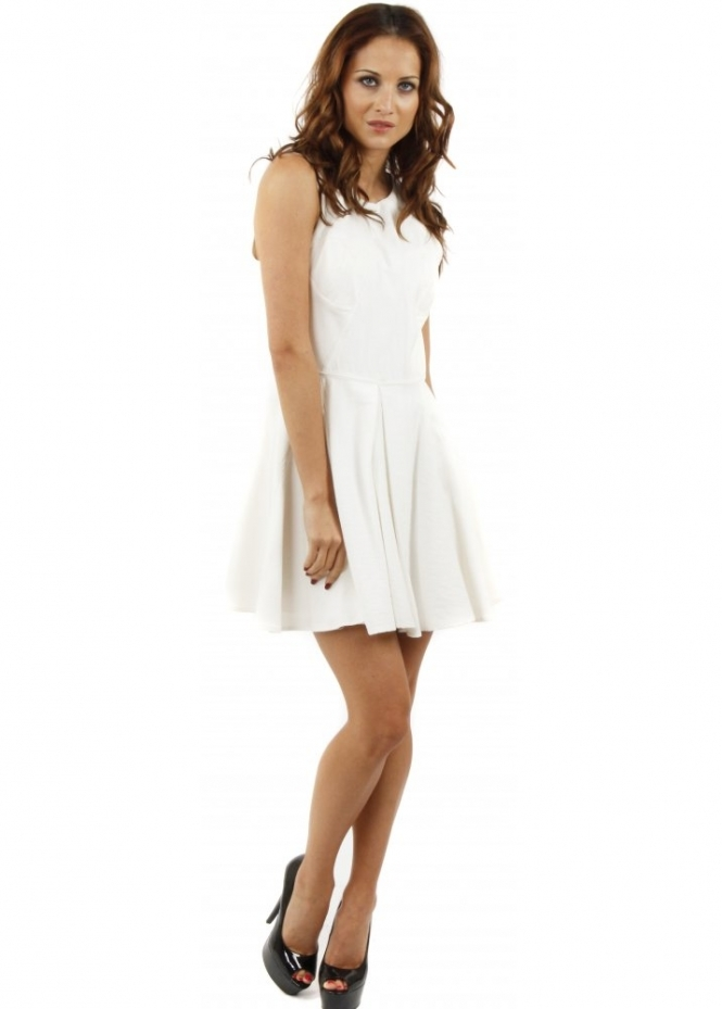 Finders Keepers Back to December Ivory Panel Skater Dress