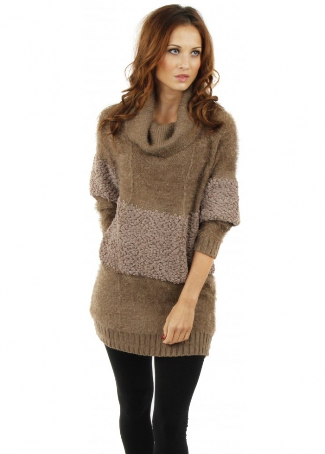Designer Desirables Fluffy Bobble Taupe Polo Neck Jumper