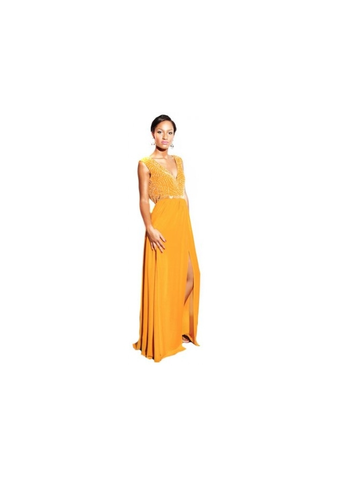 Virgos Lounge Nina Mustard Gold Embellished Maxi Dress
