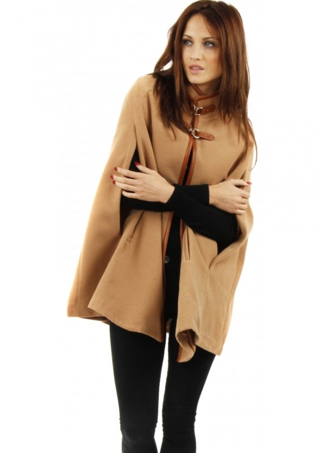 Vera Amp Lucy Tan Cape Coat Slit Sleeve Cape Tan Poncho