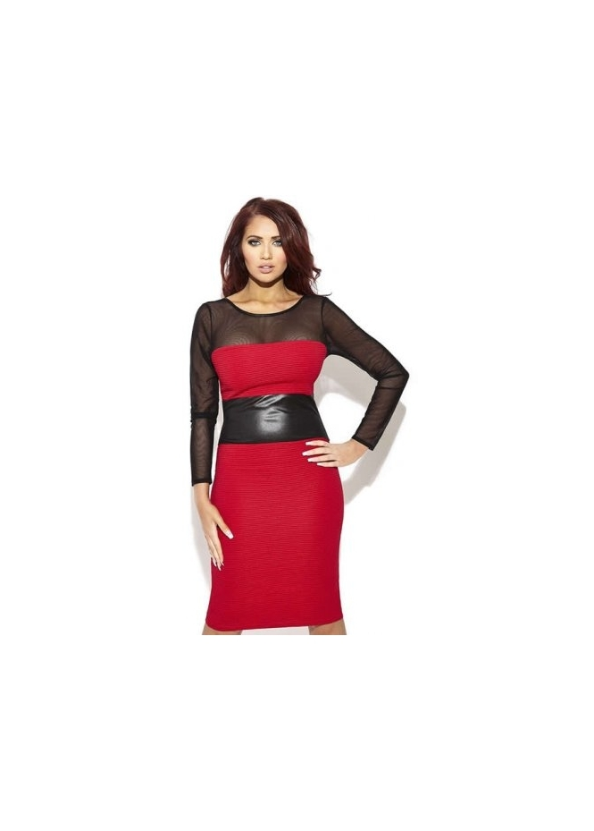 Amy Childs Brandie Red Faux Leather Detail Body Con Dress