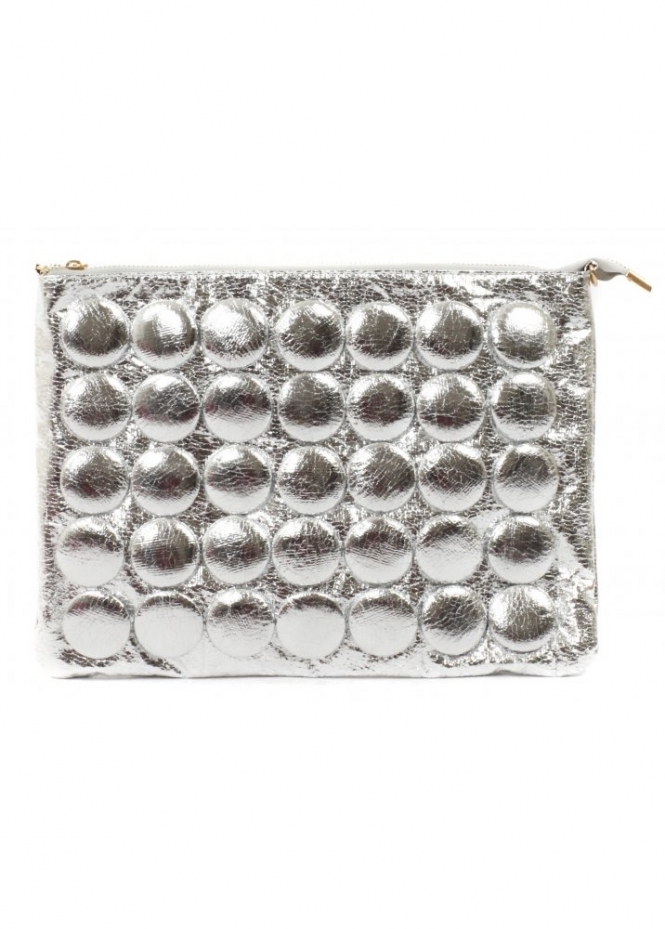 Designer Desirables Chunky Silver Buttons Clutch Bag