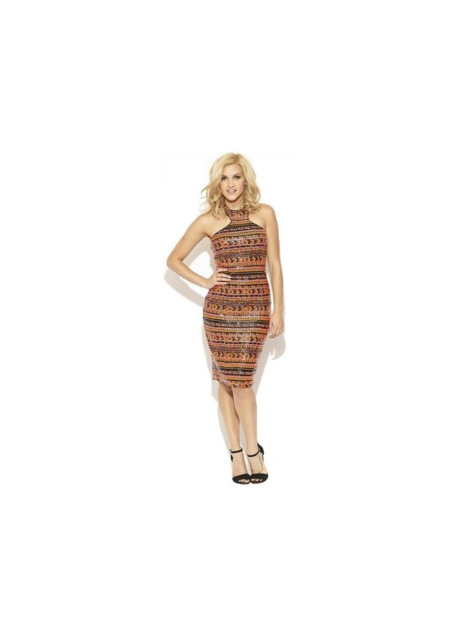 Key Fashion Liquorish Multi Coloured Sequin Midi Dress
