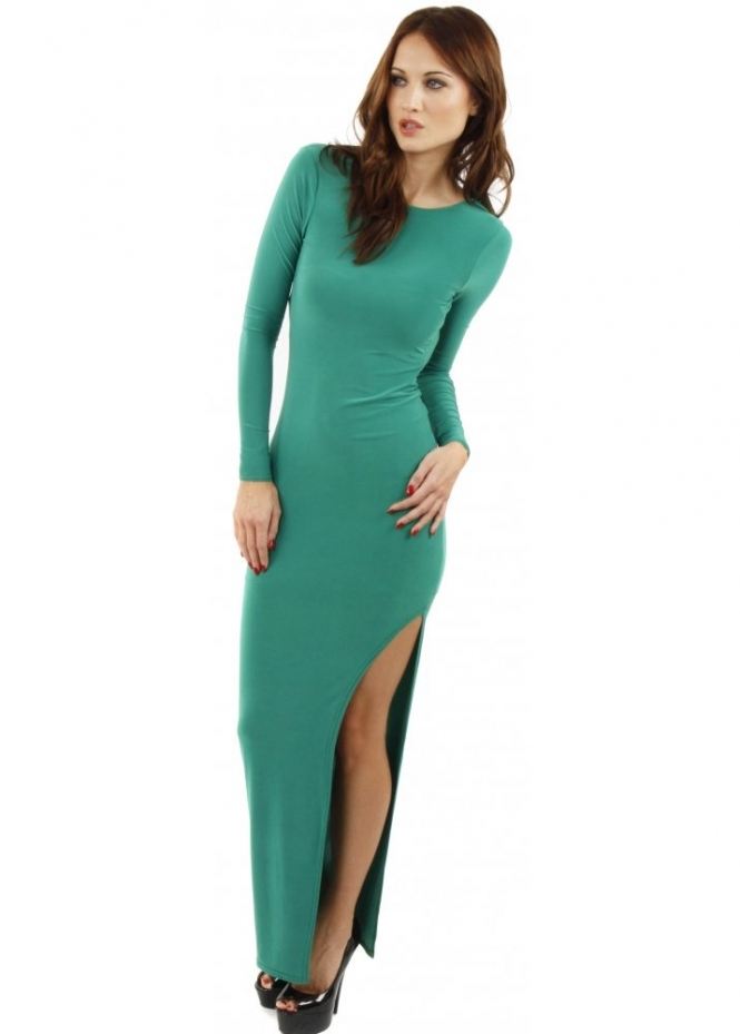 Designer Desirables Celebrity Style Open Back Slit Leg Green Maxi Dress