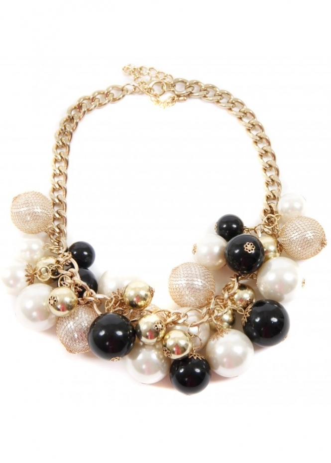 Designer Desirables Gold Chain Choker With Chunky Multicoloured Pearls