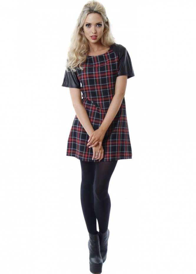 Designer Desirables Black & Red Tartan Print PVC Sleeve Shift Dress