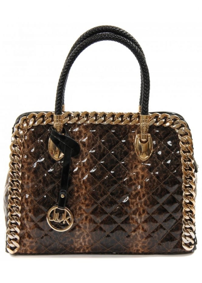 Leopard Print Tote Bag Quilted Tote Bag Gold Chain Handbag