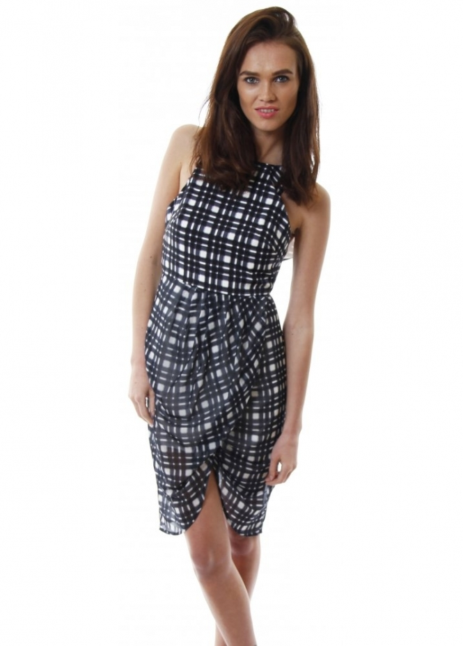 Finders Keepers Blue Tartan Chiffon Stranger In Paradise Dress