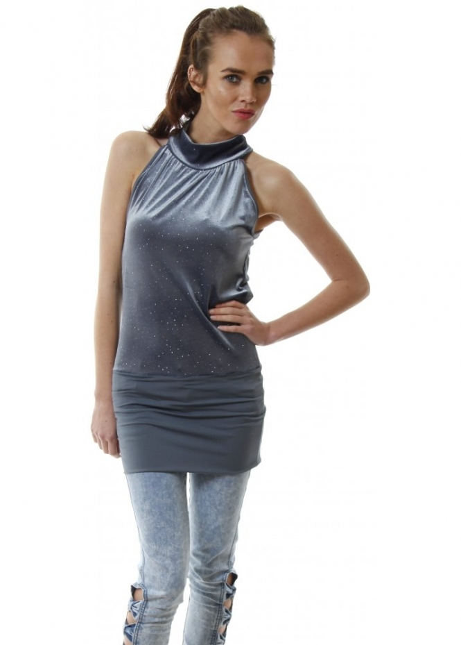 Shyloh Crystal Studded Grey Velour Halter Neck Tunic Top