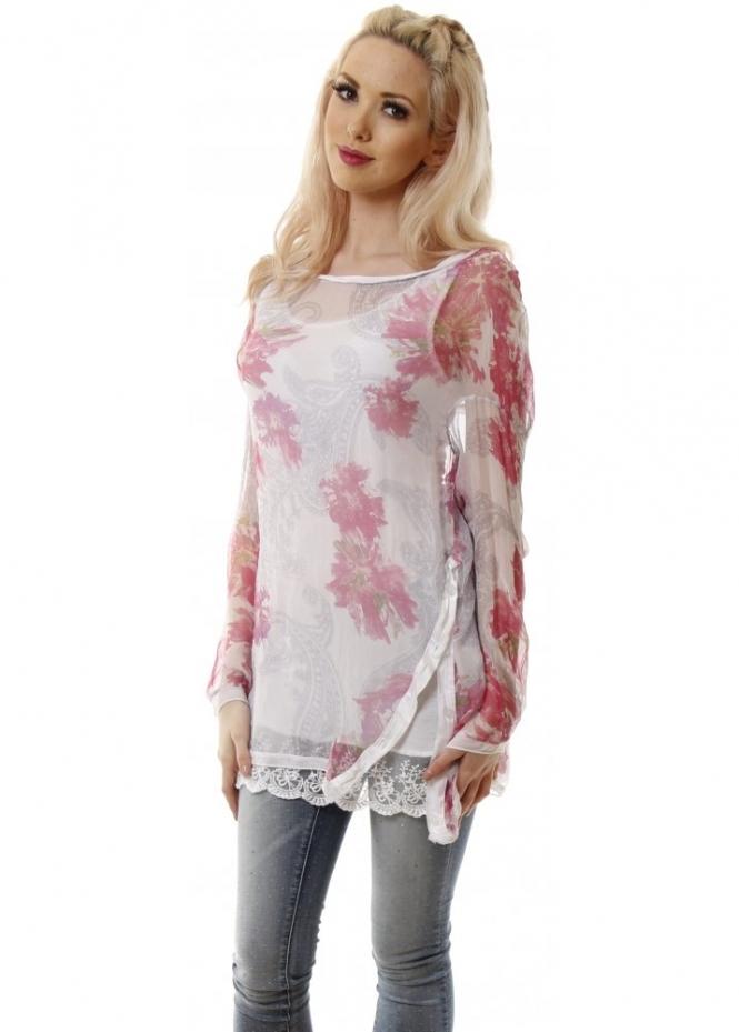 Monton White Amp Pink Floral Print Silk Tunic Top Monton