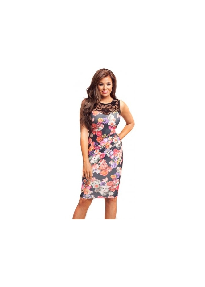 Jessica Wright Dahlia Black Multi Coloured Floral Lace Midi Dress