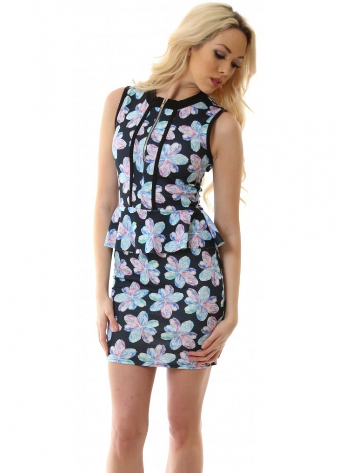 Glamour Babe Dress Blue Floral Mini Dress As Seen On