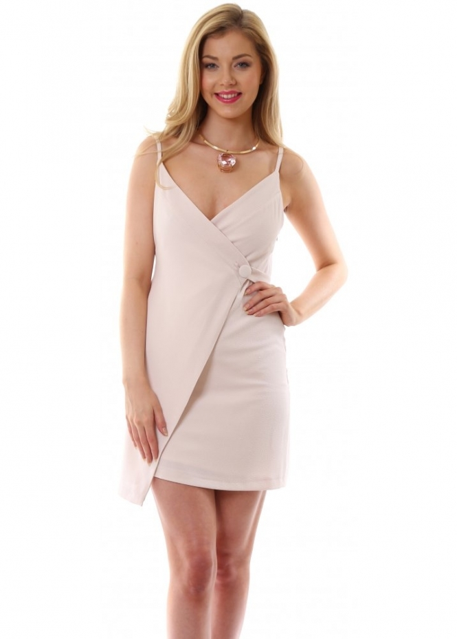 Hedonia Leighton Cross Over Dress With Button In Nude