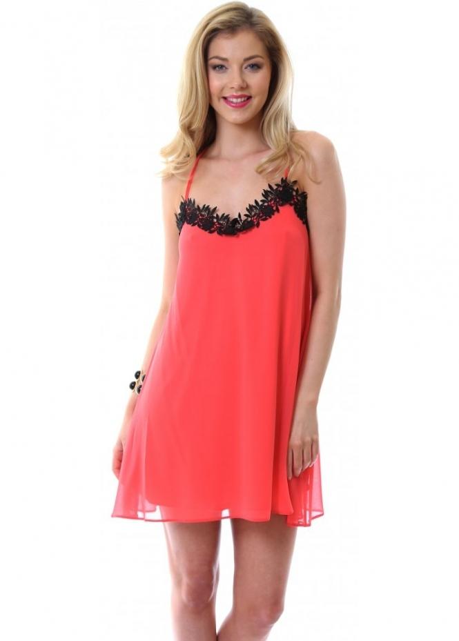 Ad Lib Dress | Nude Lingerie Slip Dress With Black Lace