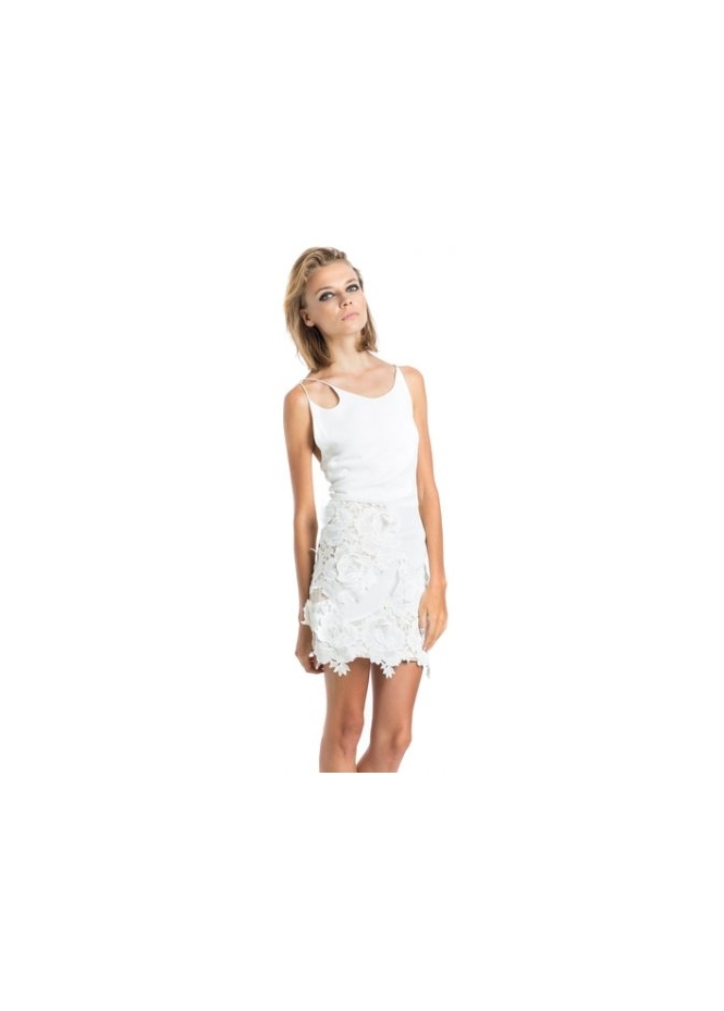 Miss Milne Wanderlust White Flower Cut Away Lace Dress