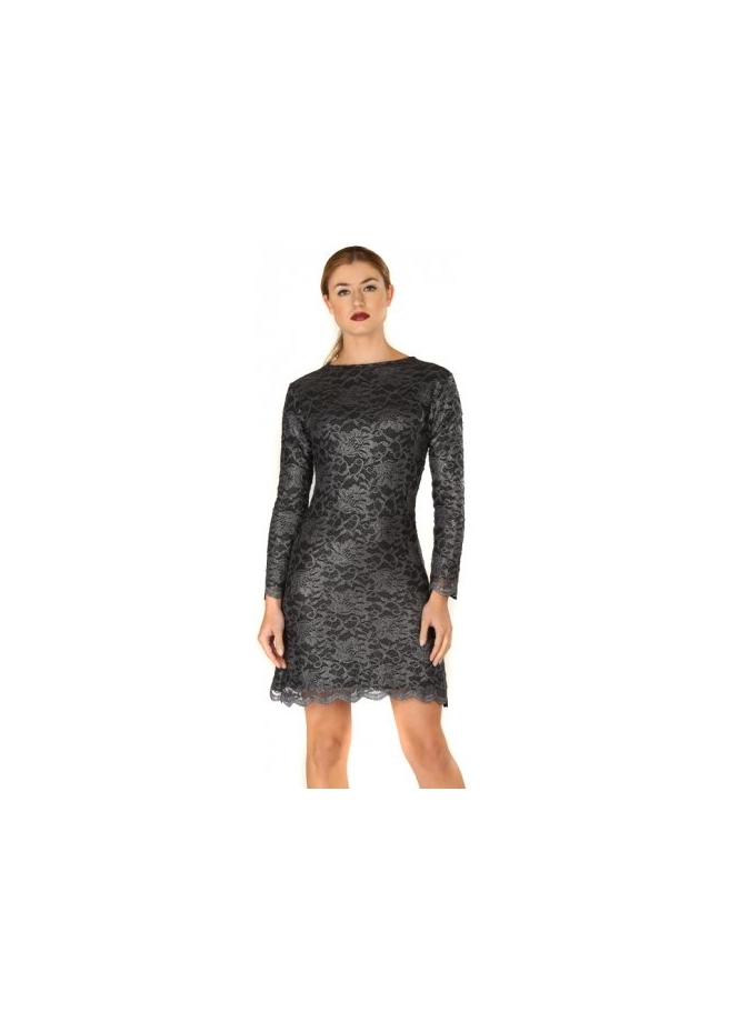 Honor Gold Tori Dark Grey Lace Long Sleeve Tailored Mini Dress