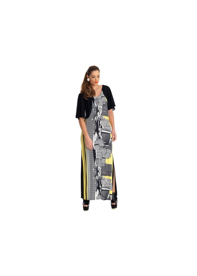 MAT Fashion Yoruba City Scape Black & Yellow Maxi Dress